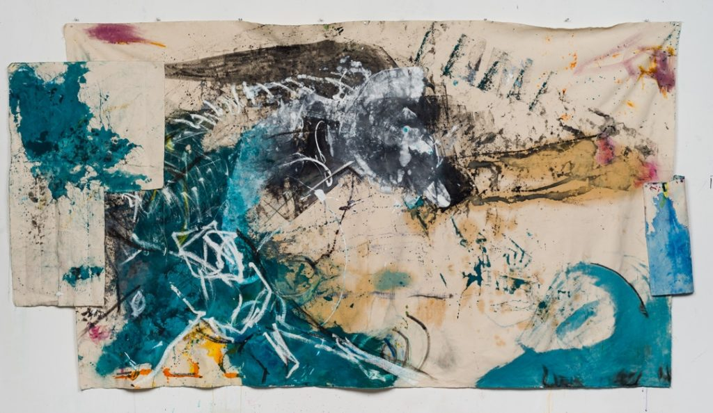 """Karen Schwartz """"Prehistoric"""" 72 x 136 Mixed Media and Collage on Unstretched Canvas 2017"""