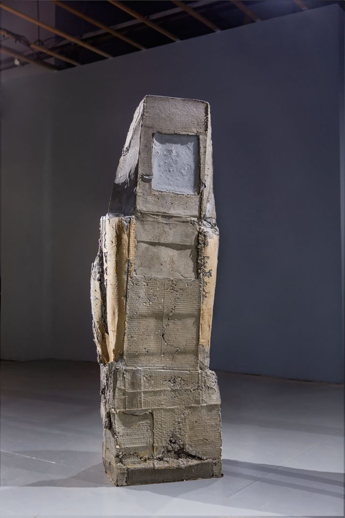 "Ruth Hardinger ""Envoy #30 / Standing"" 2015, 61 x 14 x 17 inches, concrete and cardboard."