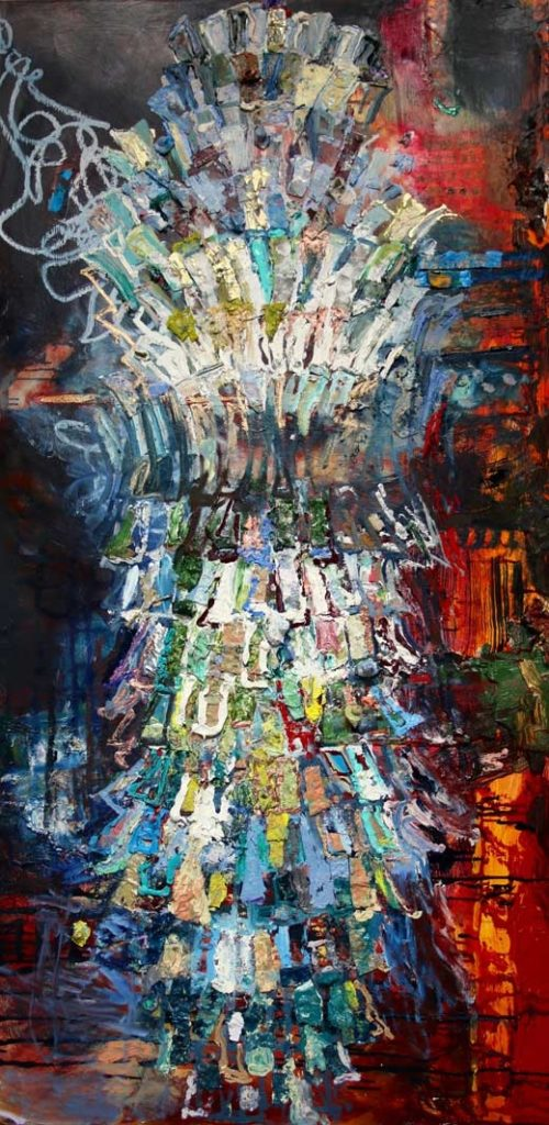 """Lizbeth Mitty """"July 4 Chandelier"""" (2016, oil and metal on board, 60"""" x 30"""")"""