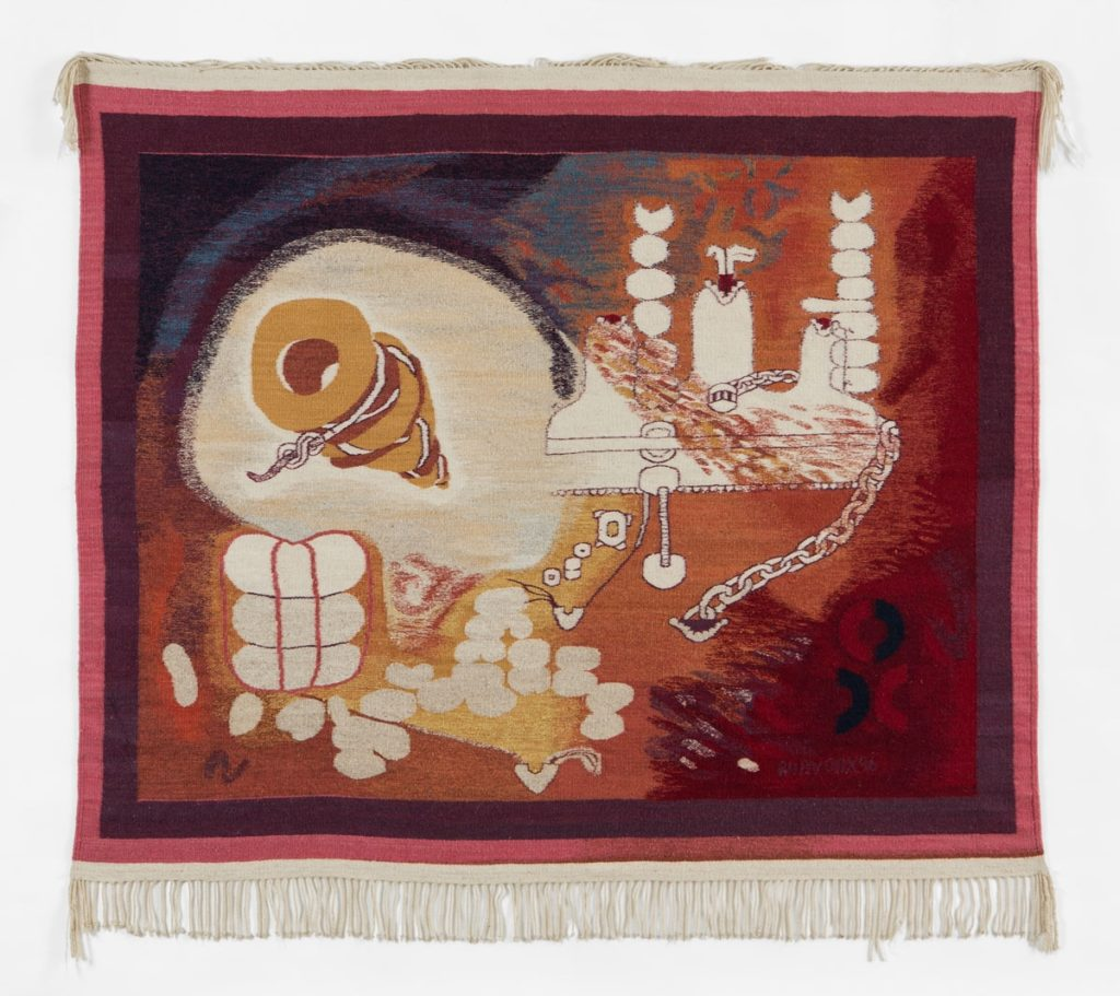 "Ruth Hardinger ""Bundle of Rights"" (1997, tapestry of wool and natural dyes, 54 x 62"")"