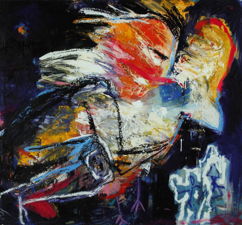"Karen Schwartz ""King Flying Through Galaxy on a Bird"" (58x54) Mixed Media Wood Panel 2015"