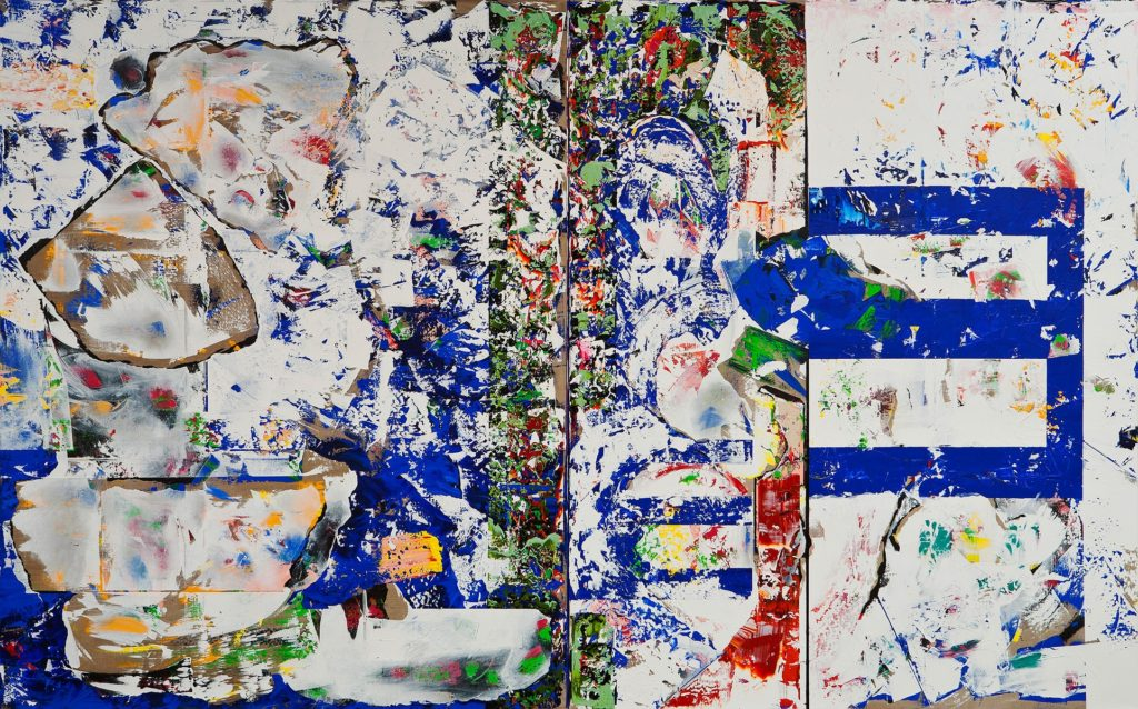 "C. Michael Norton ""Einsteins Edge of Winter"" (2009-2011, (diptych) acrylic on linen, 90""x144"")"