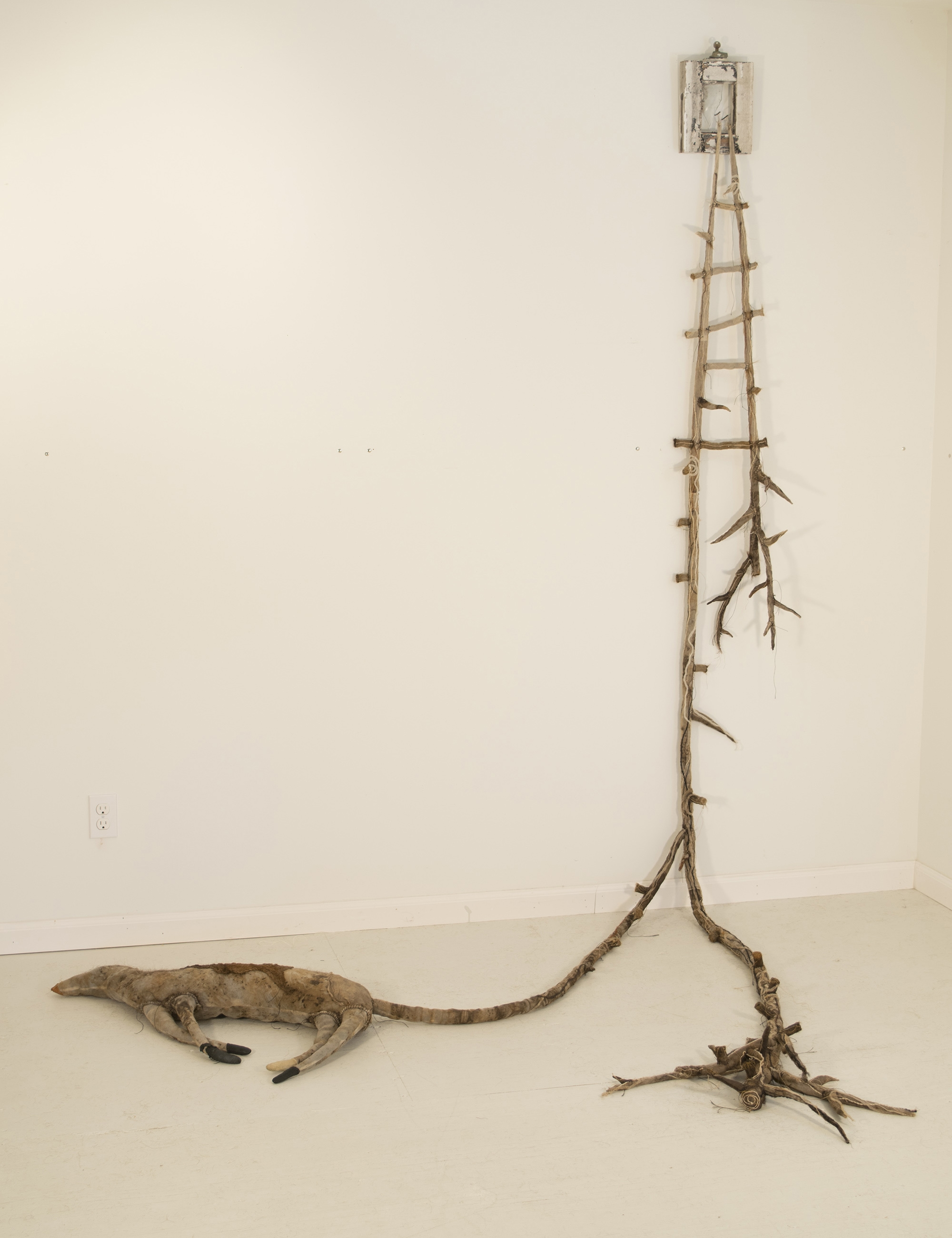 "Babs Reingold ""Luna Window: Ladder No. 16"" (2016. silk organza, rust, tea, human hair, encaustic, string, thread, yarn, old nails and fabricated old window, 93"" x 80"" x 60"")"