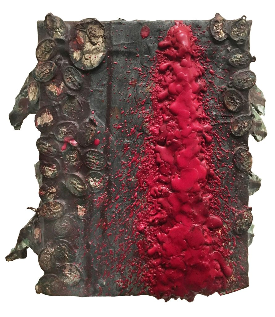 "Len Bellinger ""guardian"" (1993-95, oil, wax, acrylic, medals, glue on cardboard, 11"" x 9.5"" x 3.75"")"