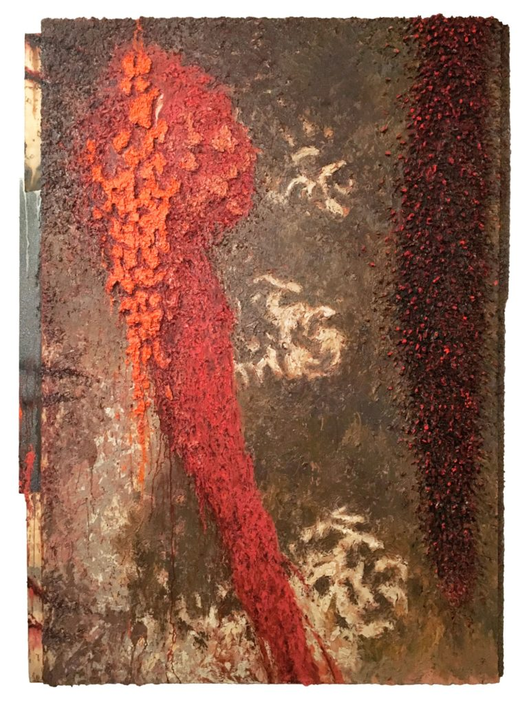 "Len Bellinger ""pox populi"" (1994-95, oil, staples, formica, canvas on canvas, 71.5"" x 48"")"